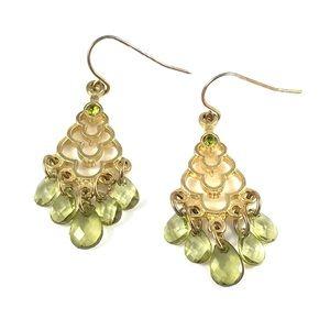 Gorgeous Tourmaline Faux Gold & Gemstone Earrings